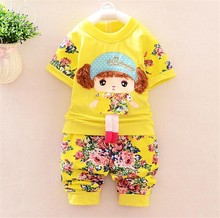 fashion korean summer clothing sets for girls lovely girl printing cotton baby clothing sets