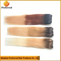 Ombre color human hair weft three tone color Peruvian virgin hair weave factory price
