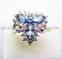 hot sale 925 sterling silver zircon rhodium plated ring