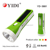 YD-3881 800mAh Solar torch light rechargeable led torch light