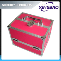 Pink aluminum cheap mobile cosmetic case,shape single cosmetic case with inner box,PVC detachable cosmetic case