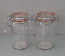 straight small clip glass jar , glass jars with clip top and metal clip