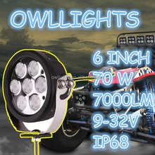 Make in modern skill with new DT conector,4x4 auto part 70w led driving light spot beam 12v 6 inch 70w round led work light