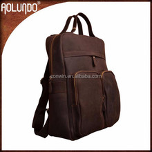 Leather handle brown computer leather school bags and backpacks