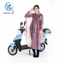 2015 red clear long PVC raincoat / motorcycle women rain coat