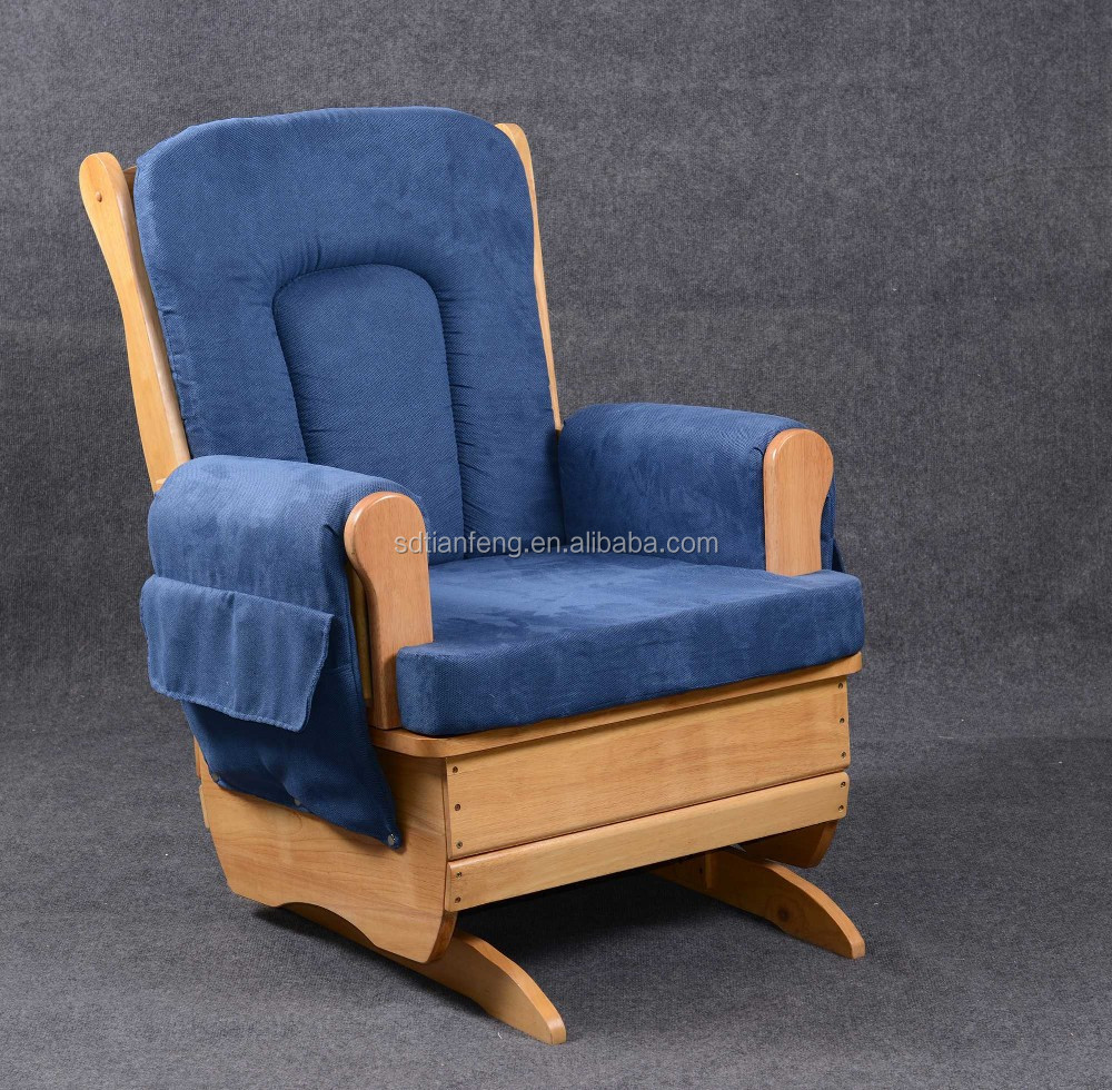 Big Seat Blue Fabric Cushion Comfortable Rocking Chair Buy Unfinished Wood Rocking Chairs