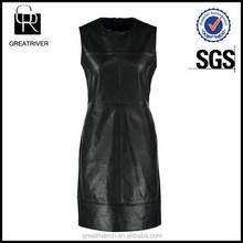 OEM fashion black sleeveless round collar ladies leather sex dress
