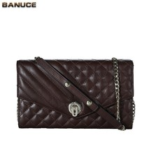 BANUCE Ling Plaid Pattern Lightweight Shoulder Bag Cowhide Leather Womens Over The Shoulder Bags