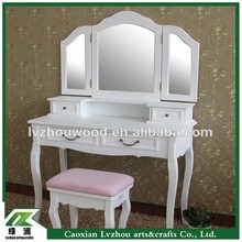 White Popular Dressers , Bedroom Furniture Designs with Stool and Mirror