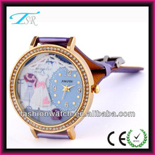 Hot sale leather strap watches teenage fashion watches with stainless steel back case and high quality
