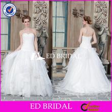 CE1496 Wholesale Cheap Sweetheart Ruffles Tiered Organza Backless Wedding Dress