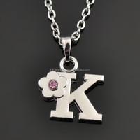Eco-Friendly New Design Initial Alphabet Letter K Pendant Crystal Flower Pendant Necklace