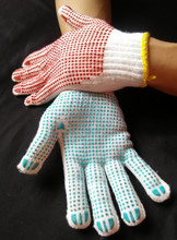 RL SAFETY 7gauge bleach white polycotton working glove with single side roseo ball pvc dots,hand protact