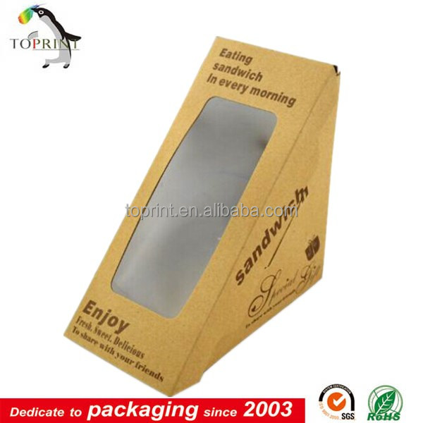 Food grade triangle sandwich packaging wholesale supplier for Triangle wholesale printing