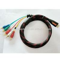 5 M hdmi to 5 rca component av converter Audio Video AV Component Cable nylon mesh