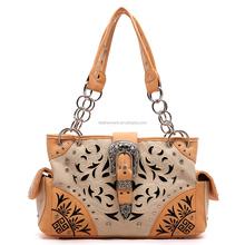 western floral cut-out flap buckle handbag