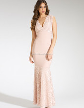 Chic V-neck Lace Evening Gowns Pink Sheath Ankle-length Sleeveless