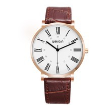 Vintage design men leather watch WEIQIN W23058 rose gold watches men