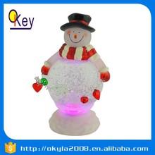 Christmas decoration plastic snowman LED water globe