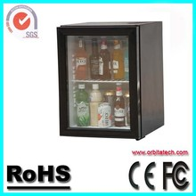 Hotel Minibar Refrigerator Charcoal Grey with Glass Door