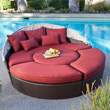 Modern Wicker Curved round Outdoor Daybed Cushions