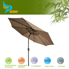 Deluxe Polyester LED Outdoor Patio Furniture Rome Patio Umbrella with Lights