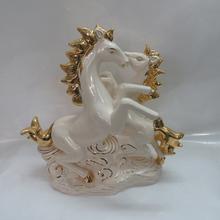 EF349 Chinese Gold painted Fashion luxury modern ceramic craft horse painting