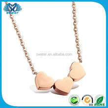 Gold Jewellery Three Hearts Connection Rose Gold Heart Necklaces
