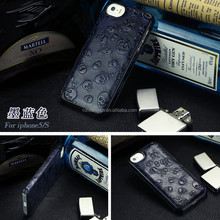 Customerized Skull pattern cover 100% genuine leather cell phone case for iphone 5 5s 6 6plus
