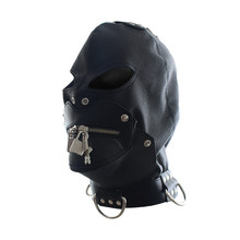 Sexy Toys Adult Cap Faux Leather Mask Slave Open Mouth Passion Sex Products Bondage Head Hood