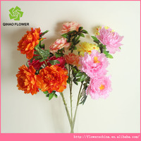 New design artificial peony flowers stem have 3 silk flowers flashing
