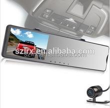 Auto Monitor Data Recorder 5 Inch Screen G-Sensor Rearview Mirror 2 Cameras HD Car DVR
