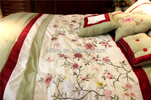 Ribbon embroidery cushion covers bed