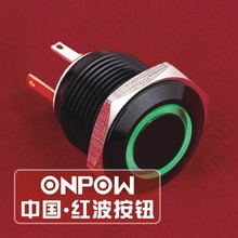 ONPOW 16mm ring lighted momentary black aluminium alloy pushbutton switch with IP65 (GQ16F-10E/JL/G/2.8V/A) CE, RoHS