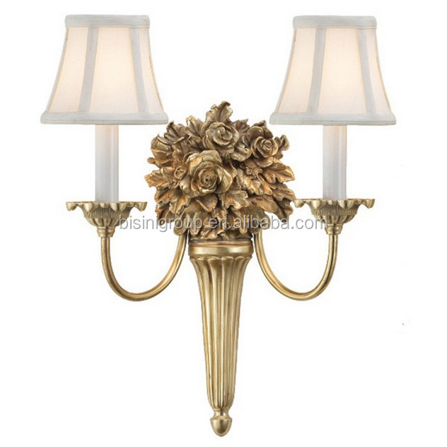 Antique graceful solid brass roses wall lamp with lamp shade for bf11 06291d brass roses sconce wall lampg aloadofball Choice Image