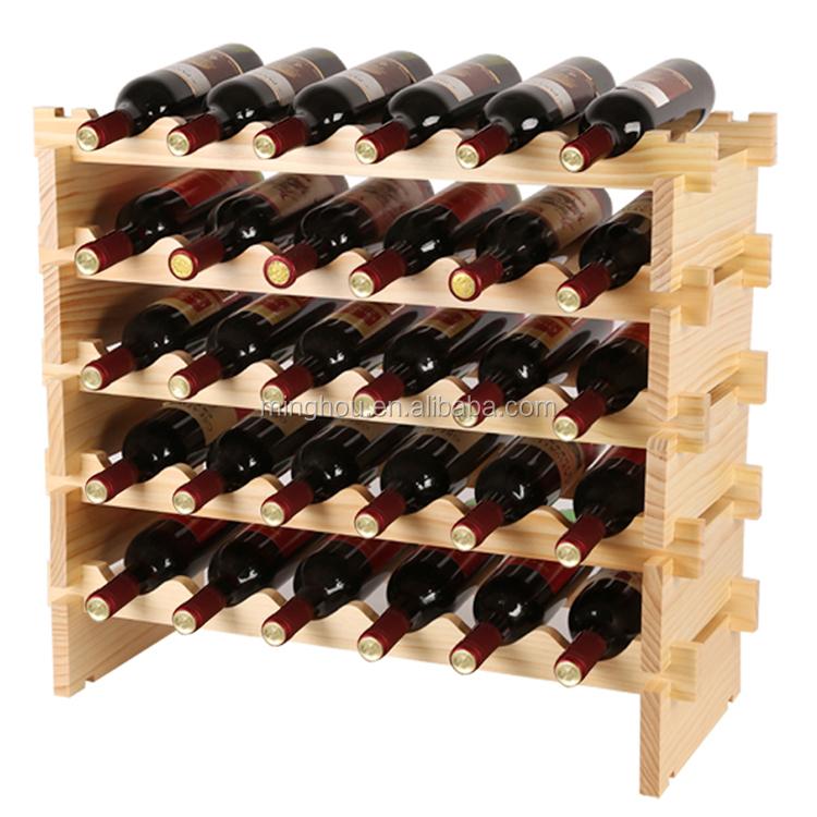 30 bouteille empilable bois racks pr sentoir de bouteille de vin etag res vins id de produit. Black Bedroom Furniture Sets. Home Design Ideas