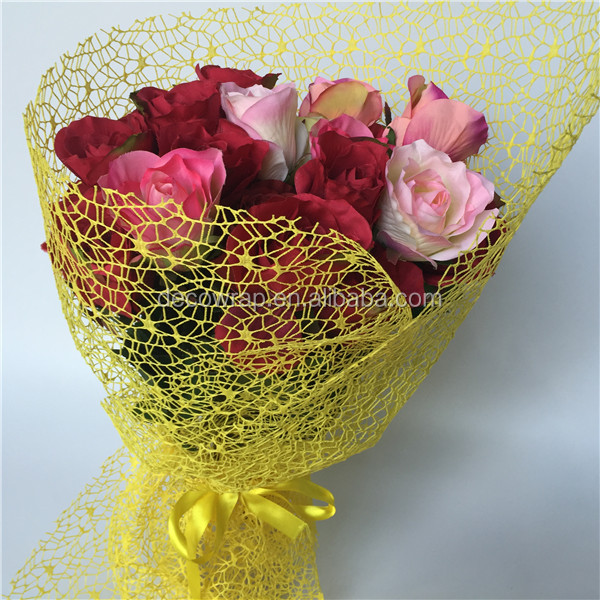 Wholesale deco poly mesh paper for flower bouquet wrapping ideas item codeme310 description flower wrapping mesh mightylinksfo