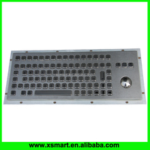 Industrial Kiosk Stainless Steel Metal Keyboard with trackball and buttons F1-F12
