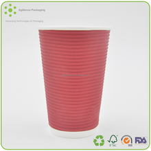 2015 Factory Price Green Coffee Ripple Cups With White Black Lid Wholesale