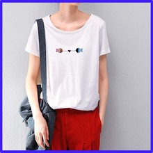 popular new model ladies flower embroidrey contton o-neck t-shirt