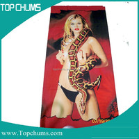 Color changing 3d picture woman sex with animal photo printed sexy beach towel