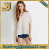 2015 new design chiffon ladies blouse, front short and long back model woman blouse for uniform 2015