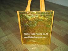 eco gold stamping bag, laminated non woven bag, reusable shopping bag