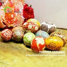 ingrosso docorative uovo in ceramica dipinto a mano porcellana per ciotola dei pesci o ornamento di natale