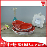 ceramic hot sale eco-friendly set of 3 ceramic oval bakeware colour glazed microware safe deep plate