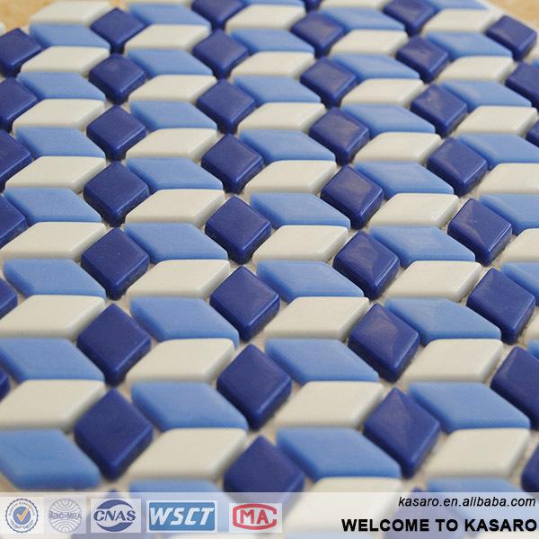 Losange carrelage mosa que bleu et blanc en c ramique for Carrelage losange