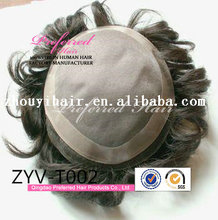 """Wholesale top quality 6"""" natural curly Brazilian human gray hair mens toupee with PU around"""