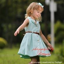 2015 Gril moda desgaste telas combinada mano flores adornado con la correa vestido de verano infantil GD80718-05