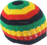 Jamaican handmade cotton crochet kufi hats rasta caps RC-032