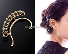 Fashion Gold Pltaed Crystal Hollow No Hole Earrings Ear Cuff Wrap Clip